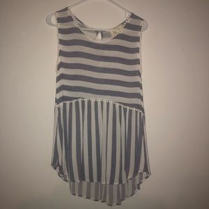 Fantastic Fawn Blue and White Striped Tank